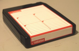 Custom diskette-style label on 8-track for Lo8